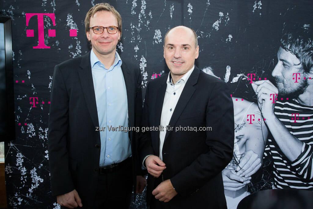 Andreas Bierwirth (CEO), Stefan Groß (CFO ) : T-Mobile Austria 2015 wieder auf Wachstumspfad - Umsatz erstmals seit 2007 wieder mit Zuwachs : Fotocredit: T-Mobile/König, © Aussender (25.02.2016)