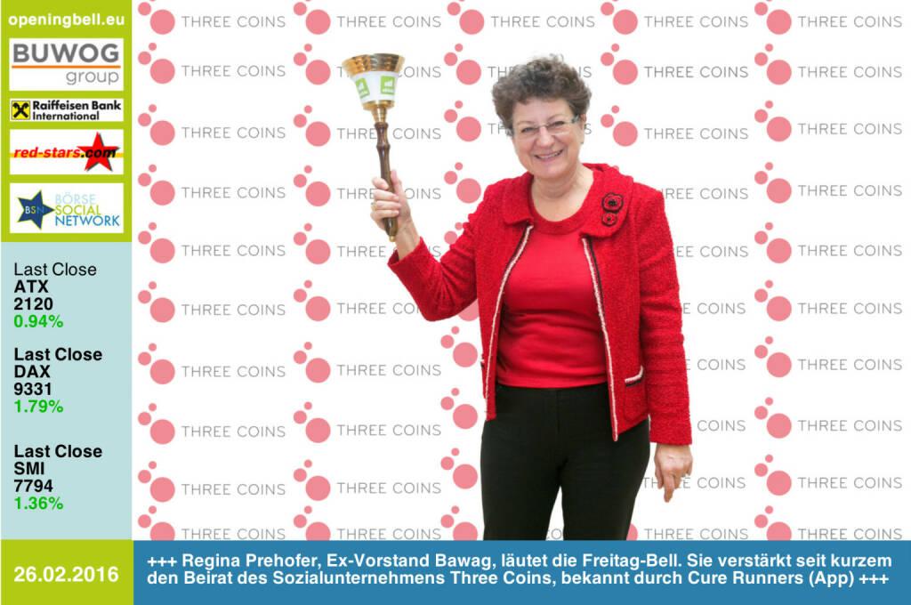 #openingbell am 26.2: Regina Prehofer, Ex-Vorstand der Bawag, läutet die Opening Bell für Freitag. Sie verstärkt seit kurzem den Beirat des Sozialunternehmens Three Coins, bekannt durch die App Cure Runners http://www.threecoins.org http://www.boerse-social.com (26.02.2016)
