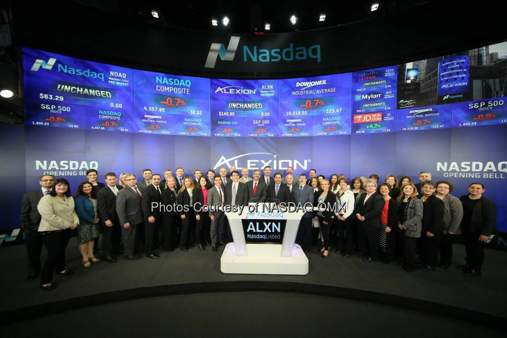 Alexion showing up in large numbers here for today's #Nasdaq opening bell! $ALXN #squadgoals  Source: http://facebook.com/NASDAQ (01.03.2016)