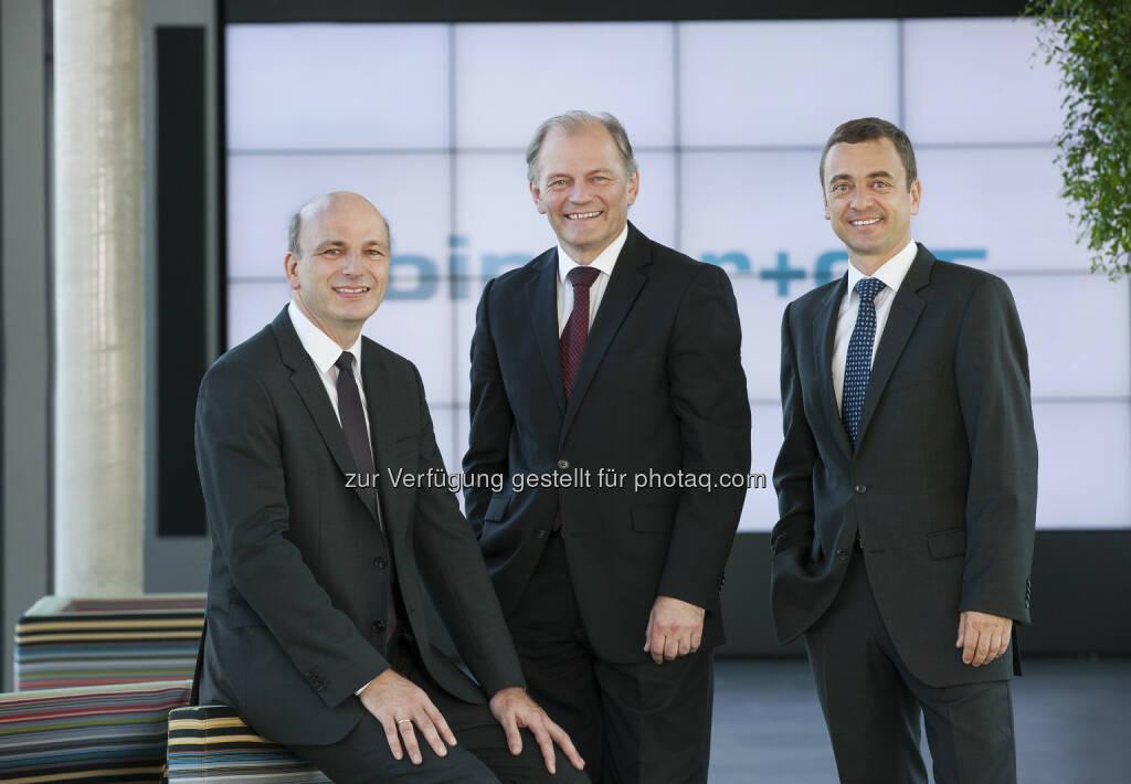 Jörg Rosegger, Karl Grabner und Johannes Pohl (Vorstand Binder + Co) : Binder+Co plant Umstellung auf Namensaktien : Binder+Co 2015 mit deutlichen Zuwächsen : Fotocredit: Binder+Co, © Aussender (02.03.2016)