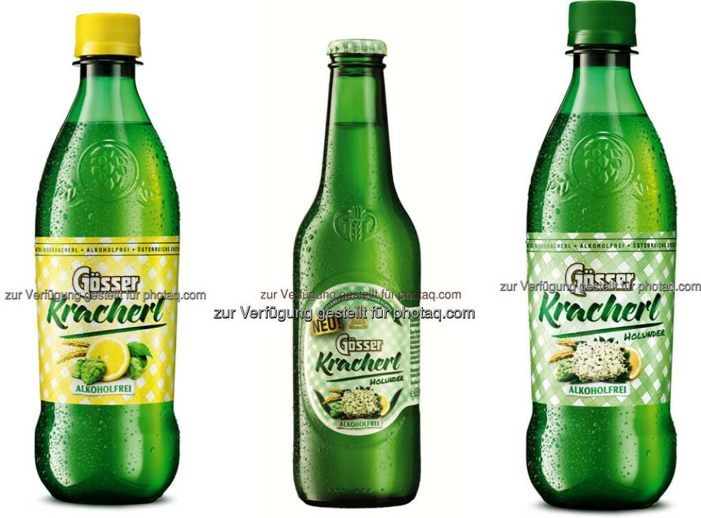 Gösser Kracherln (Holunder, Zitrone) : Das Gösser Kracherl kommt nun auch ab März in der praktischen Leichtflasche auf den Markt : Außerdem wird eine neue Geschmacksrichtung – Holunder - vorgestellt : Fotocredit: Brau Union Österreich, © Aussender (03.03.2016)
