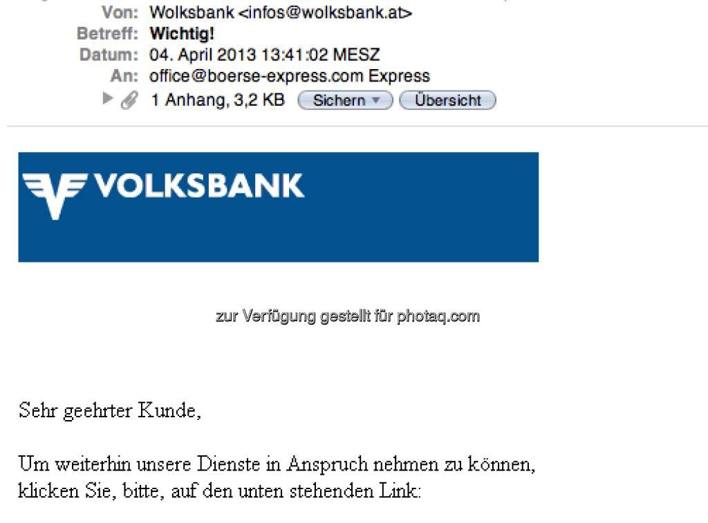 Wolksbank statt Volksbank im Absender (07.04.2013)