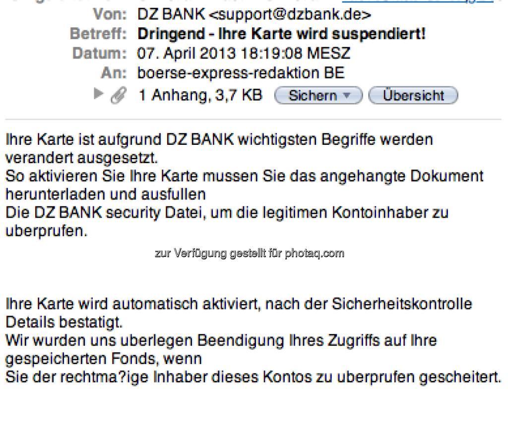 DZ Bank als Spam-Opfer (08.04.2013)