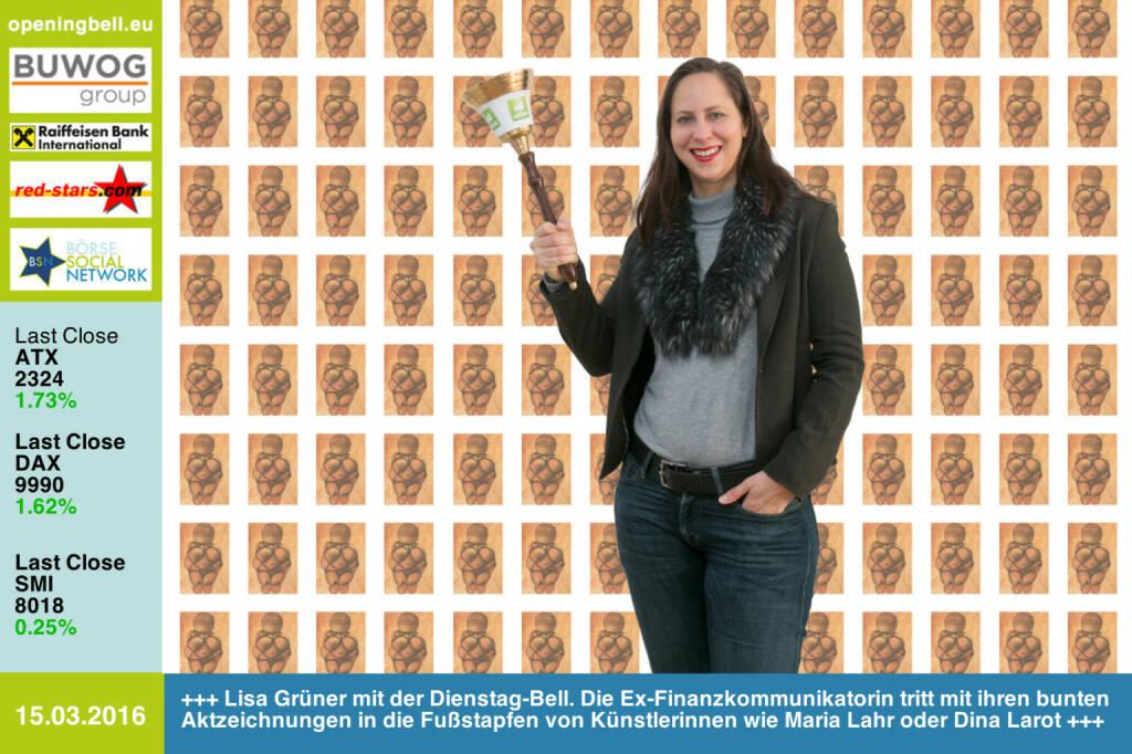 #openingbell am 15.3: Lisa Grüner mit der Opening Bell für Dienstag. Die Ex-Finanzkommunikatorin tritt mit ihren bunten Aktzeichnungen in die Fußstapfen von Künstlerinnen wie Maria Lahr oder Dina Larot http://lisartg.jimdo.com http://www.openingbell.eu (15.03.2016)