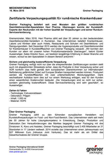 Greiner Packaging beliefert Hexi Pharma, Seite 1/2, komplettes Dokument unter http://boerse-social.com/static/uploads/file_791_greiner_packaging_beliefert_hexi_pharma.pdf (16.03.2016)