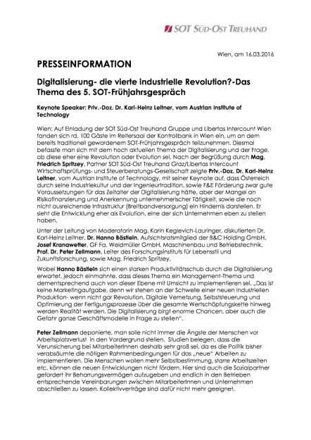 SOT-Frühjahrsgespräch: Digitalisierung - die vierte industrielle Revolution?, Seite 1/3, komplettes Dokument unter http://boerse-social.com/static/uploads/file_792_sot-fruhjahrsgesprach_digitalisierung_-_die_vierte_industrielle_revolution.pdf (16.03.2016)