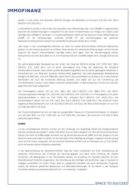 Immofinanz: Konzernergebnis, Seite 2/3, komplettes Dokument unter http://boerse-social.com/static/uploads/file_793_immofinanz_konzernergebnis.pdf (16.03.2016)
