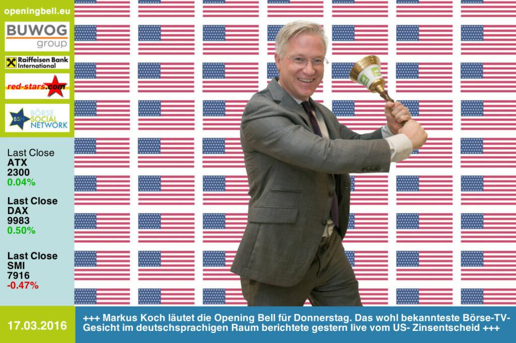 #openingbell am 17.3: Markus Koch läutet die Opening Bell für Donnerstag. Das wohl bekannteste Börse-TV-Gesicht im deutschsprachigen Raum berichtete gestern live vom US- Zinsentscheid http://facebook.com/markus.koch.newyork http://www.openingbell.eu (17.03.2016)