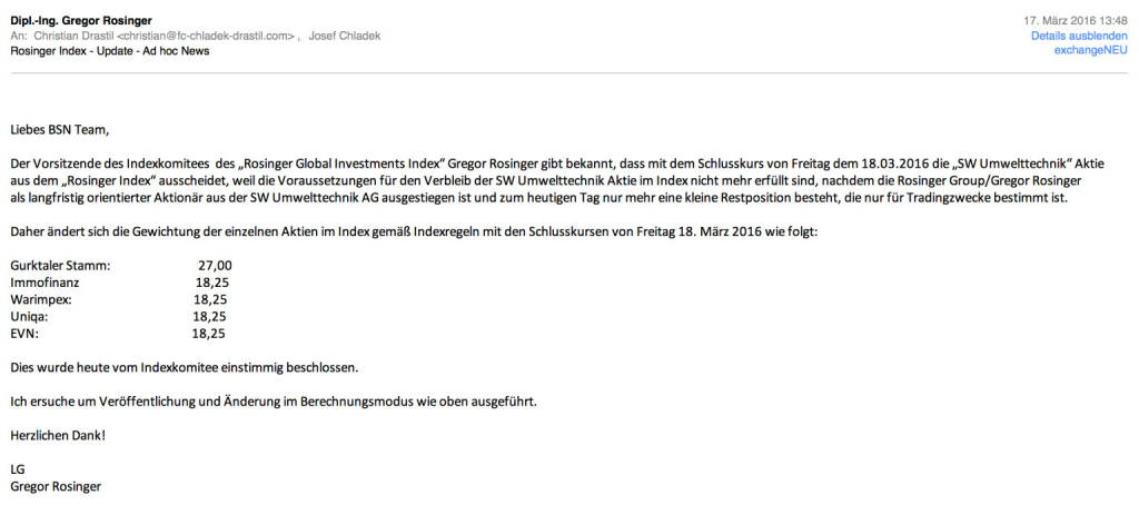 Indexevent Rosinger-Index 10: Herausnahme SW Umwelttechnik per Schlusskurs 18.3.2016, effektiv per Marktstart 21.03.2016 (17.03.2016)
