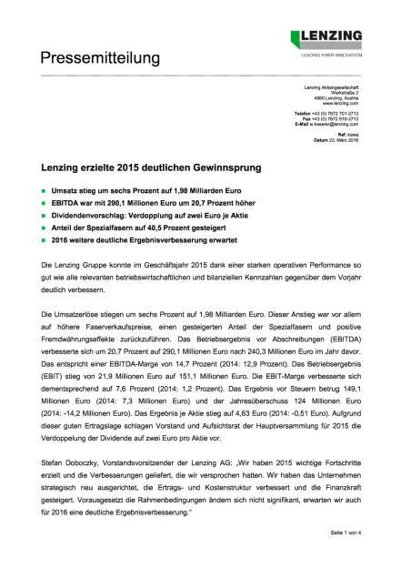 Lenzing Ergebnisse 2015, Seite 1/4, komplettes Dokument unter http://boerse-social.com/static/uploads/file_810_lenzing_ergebnisse_2015.pdf (23.03.2016)