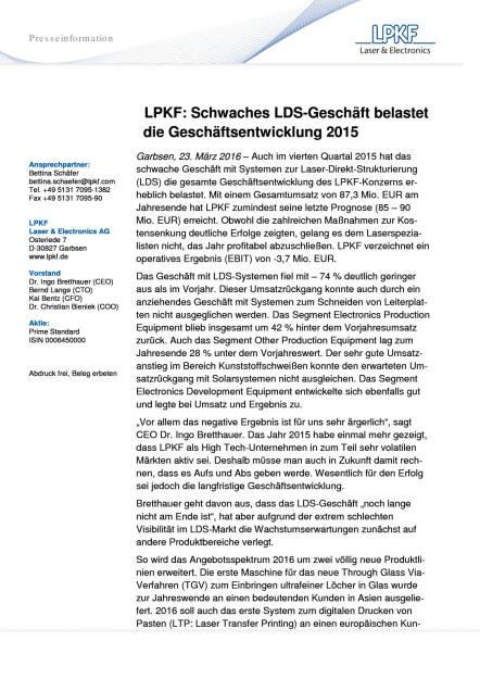LPKF: Schwaches LDS-Geschäft belastet die Geschäftsentwicklung 2015, Seite 1/2, komplettes Dokument unter http://boerse-social.com/static/uploads/file_811_lpkf_schwaches_lds-geschaft_belastet_die_geschaftsentwicklung_2015.pdf (23.03.2016)