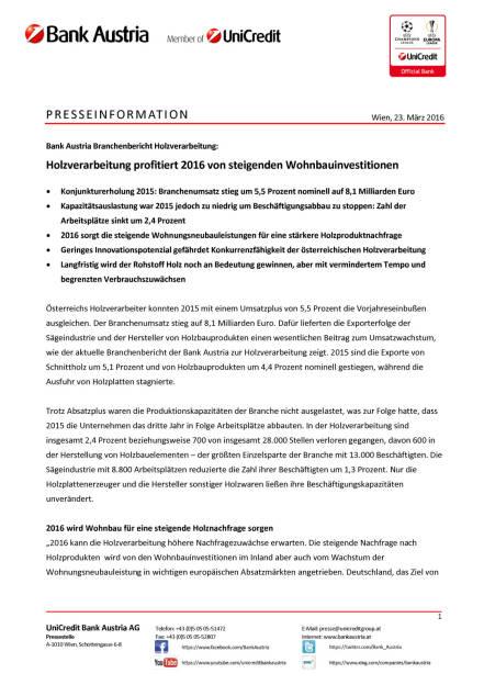 Bank Austria: Holzverarbeitung profitiert 2016 von steigenden Wohnbauinvestitionen, Seite 1/3, komplettes Dokument unter http://boerse-social.com/static/uploads/file_812_bank_austria_holzverarbeitung_profitiert_2016_von_steigenden_wohnbauinvestitionen.pdf (23.03.2016)