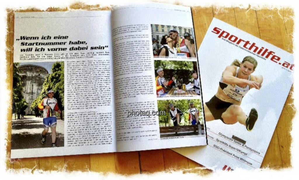 Die daraus resultierende Doppelseite im Sporthilfe-Magazin, Covergirl Beate Schrott, © Martina Draper (15.12.2012)