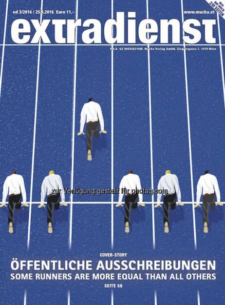 Coverillustration zu ExtraDienst 3/2016 : Die Krux mit den Ausschreibungen : Fotocredit: Mucha Verlag, © Aussender (25.03.2016)