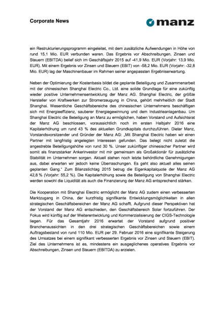 Manz Geschäftsbericht 2015 und Ausblick 2016, Seite 2/3, komplettes Dokument unter http://boerse-social.com/static/uploads/file_821_manz_geschaftsbericht_2015_und_ausblick_2016.pdf (30.03.2016)