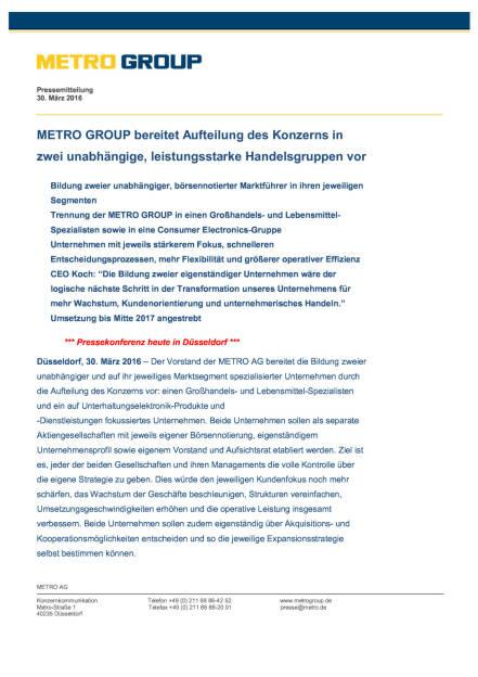 Metro Group: Aufteilung des Konzerns, Seite 1/4, komplettes Dokument unter http://boerse-social.com/static/uploads/file_822_metro_group_aufteilung_des_konzerns.pdf (30.03.2016)