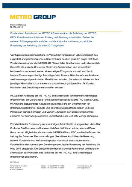 Metro Group: Aufteilung des Konzerns, Seite 2/4, komplettes Dokument unter http://boerse-social.com/static/uploads/file_822_metro_group_aufteilung_des_konzerns.pdf (30.03.2016)
