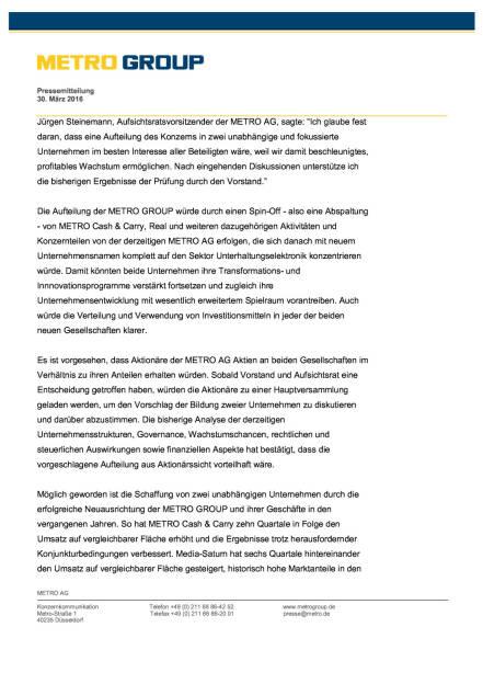 Metro Group: Aufteilung des Konzerns, Seite 3/4, komplettes Dokument unter http://boerse-social.com/static/uploads/file_822_metro_group_aufteilung_des_konzerns.pdf (30.03.2016)
