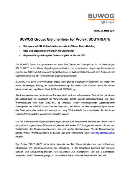 Buwog Group: Gleichenfeier für Projekt Southgate, Seite 1/2, komplettes Dokument unter http://boerse-social.com/static/uploads/file_825_buwog_group_gleichenfeier_fur_projekt_southgate.pdf (30.03.2016)