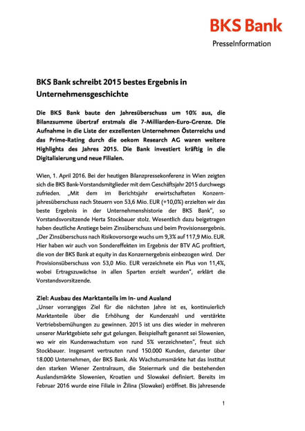 BKS mit starken 2015er-Zahlen, Seite 1/6, komplettes Dokument unter http://boerse-social.com/static/uploads/file_829_bks_mit_starken_2015er-zahlen.pdf (01.04.2016)