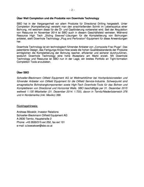 SBO übernimmt US Gesellschaft Downhole Technology, Seite 2/2, komplettes Dokument unter http://boerse-social.com/static/uploads/file_833_sbo_ubernimmt_us_gesellschaft_downhole_technology.pdf (01.04.2016)