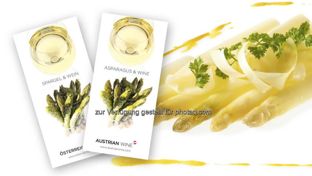 Broschüre Spargel und Wein : Gaumentanz in den Frühling : Broschüre Spargel und Wein der Österreich Wein Marketing (ÖWM) : Fotocredit: ÖWM / Ulli Kohl, © Aussender (04.04.2016)