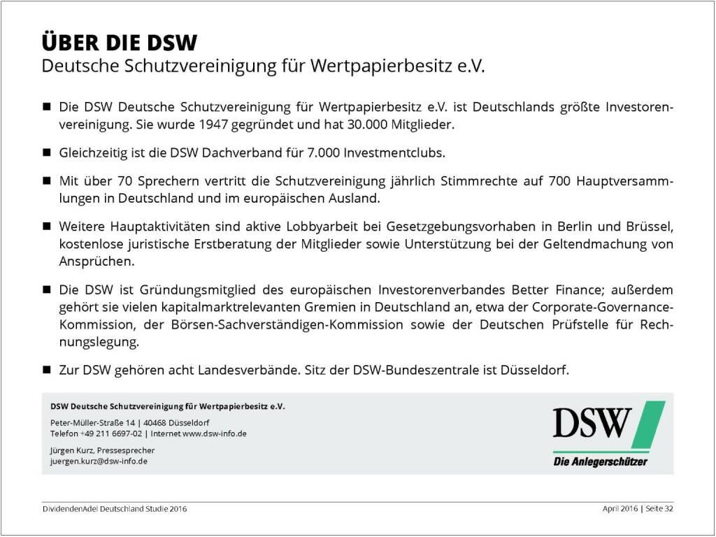 Dividendenstudie 2016: Über die DSW, © Dividendenadel.de (06.04.2016)