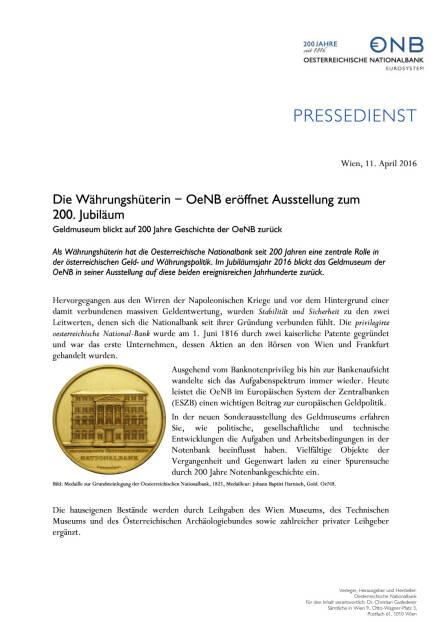 OeNB: Die Währungshüterin - Ausstellung zum  200. Jubiläum , Seite 1/2, komplettes Dokument unter http://boerse-social.com/static/uploads/file_867_oenb_die_wahrungshuterin_-_ausstellung_zum_200_jubilaum.pdf (11.04.2016)