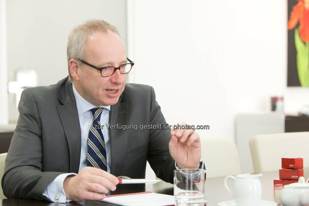 Ludwig Mertes (Prisma Vorstand) : Österreichisches Exportrisiko nicht abgesichert : 91 % liefern ohne Kreditversicherung über die Grenze, Prisma schlägt Alarm : Fotocredit: Prisma/©Draper, © Aussender (13.04.2016)