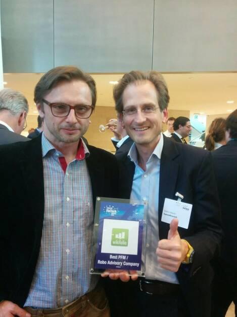 wikifolio.com (Gründer Andreas Kern links) ist Europas bestes Fintech Unternehmen im Bereich PFM Robo Advisory (Asset, Wealth, ForEx, Trading, Investing)! , © Aussendung (15.04.2016)