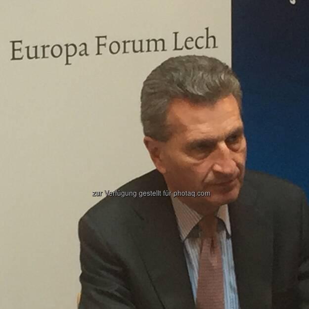Günther Oettinger (EU-Kommissar) : Wirtschaft und Gesellschaft im digitalen Wandel : Europaforum Lech 2016 mit EU-Kommissar Günther Oettinger ging heute zu Ende : Fotocredit: Europäische Kommission 2016/Miko, © Aussender (15.04.2016)