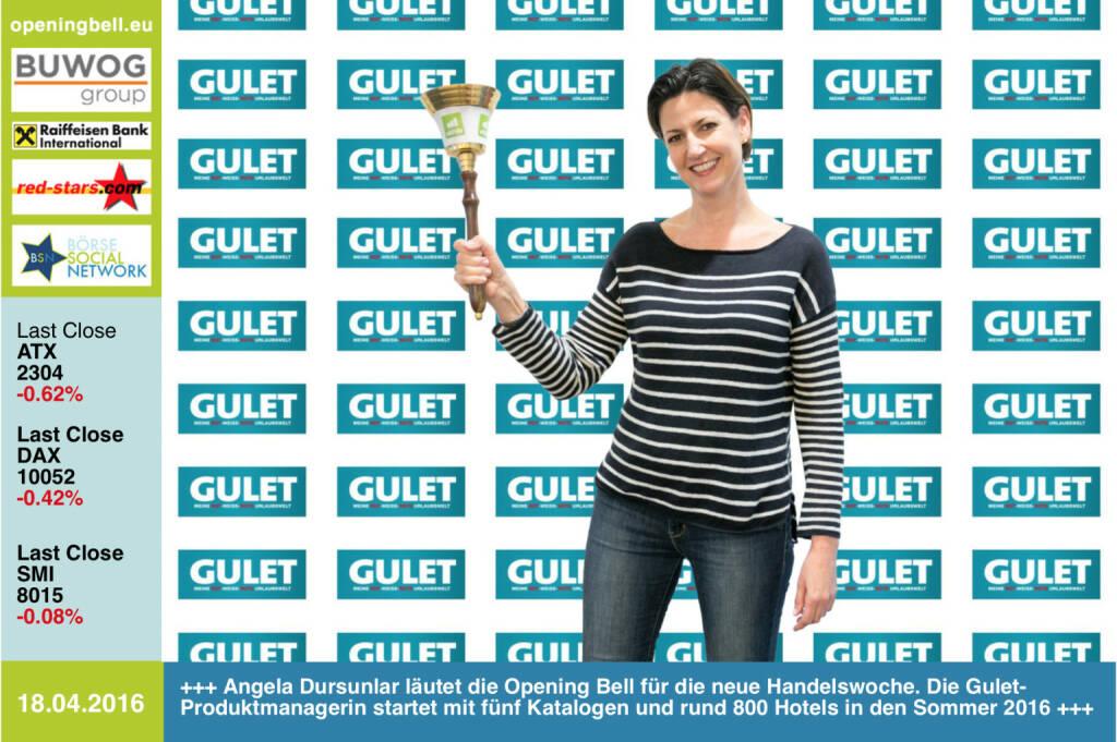 #openingbell am 18.4.: Angela Dursunlar läutet die Opening Bell für die neue Handelswoche. Die Gulet-Produktmanagerin startet mit fünf Katalogen und rund 800 Hotels in den Sommer 2016 http://www.gulet.at http://www.openingbell.eu (18.04.2016)