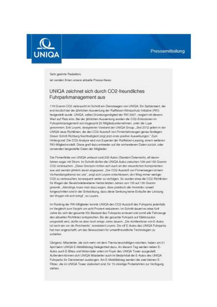 Uniqa: Fuhrparkmanagement, Seite 1/2, komplettes Dokument unter http://boerse-social.com/static/uploads/file_907_uniqa_fuhrparkmanagement.pdf (19.04.2016)