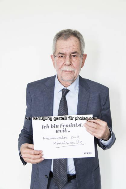 Alexander Van der Bellen : Wienerin-Kampagne kämpft mit prominenten Männern für Gleichberechtigung : Die Kampagne #IchBinFeminist holt sie vor den Vorhang : Männer, die Frauen zuhören, Männer, die Gleichberechtigung einfordern, Männer, die sich als Feministen bezeichnen : Fotocredit: wienerin/©Lydia Stöckl, © Aussender (20.04.2016)