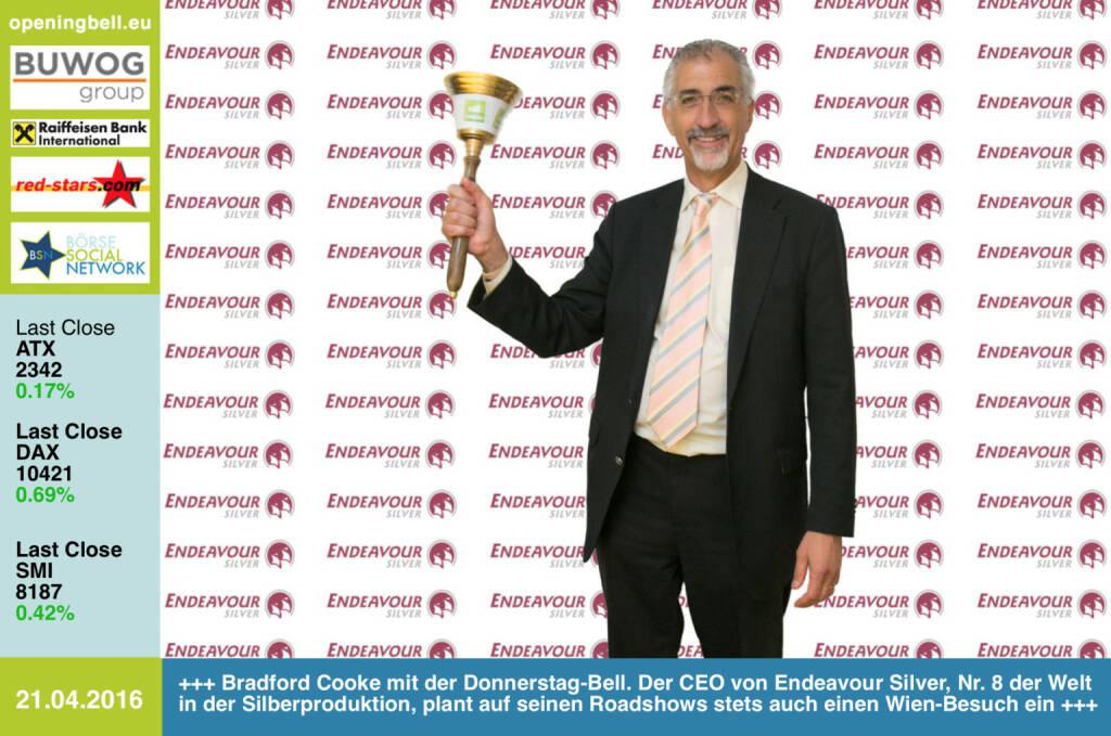 #openingbell am 21.4.: Bradford Cooke mit der Opening Bell für Donnerstag. Der CEO von Endeavour Silver, Nr. 8 der Welt in der Silberproduktion, plant auf seinen Roadshows stets auch einen Wien-Besuch ein http://www.edrsilver.com http://www.photaq.com/page/index/2451 http://www.resource-capital.ch (21.04.2016)