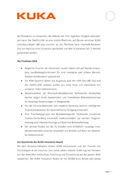 Kuka Innovation Award, Seite 2/4, komplettes Dokument unter http://boerse-social.com/static/uploads/file_946_kuka_innovation_award.pdf (26.04.2016)