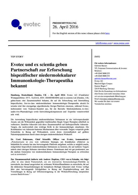 Evotec und ex scientia geben Partnerschaft bekannt, Seite 1/2, komplettes Dokument unter http://boerse-social.com/static/uploads/file_950_evotec_und_ex_scientia_geben_partnerschaft_bekannt.pdf (26.04.2016)