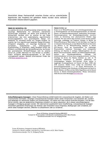 Evotec und ex scientia geben Partnerschaft bekannt, Seite 2/2, komplettes Dokument unter http://boerse-social.com/static/uploads/file_950_evotec_und_ex_scientia_geben_partnerschaft_bekannt.pdf (26.04.2016)