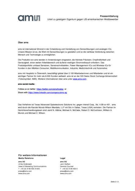 ams gibt Gerichtsurteil  gegen US-amerikanischen Wettbewerber über USD 77 Mio. bekannt, Seite 2/2, komplettes Dokument unter http://boerse-social.com/static/uploads/file_954_ams_gibt_gerichtsurteil_in_verfahren_zu_geistigem_eigentum_gegen_us-amerikanischen_wettbewerber_uber_usd_77_mio_bekannt.pdf (26.04.2016)