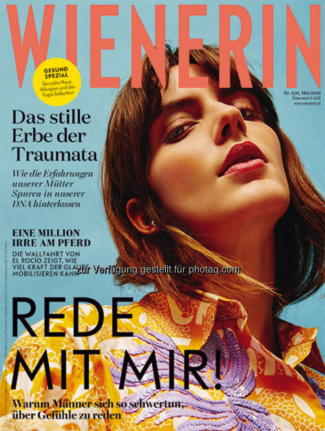 """Cover der Maiausgabe : Neu im Mai: Die """"Wienerin"""" präsentiert sich in frischer Aufmachung : Fotocredit: Wienerin/Gavrich, © Aussender (28.04.2016)"""