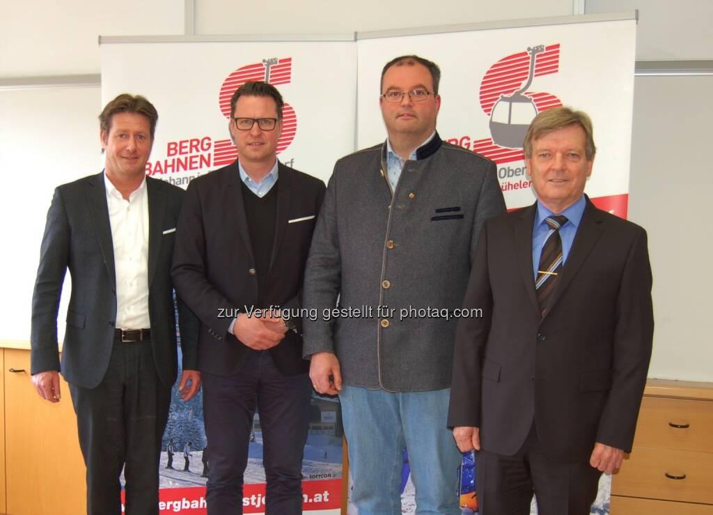 Stefan Seiwald (BGM), Mats Arjes (CEO SkiStar), Josef Grander (Tourismusobmann), Johann Schweigkofler (BGM) : SkiStar wird Mehrheitseigentümer der Bergbahnen St. Johann in Tirol : Fotocredit: Fischer, © Aussendung (29.04.2016)