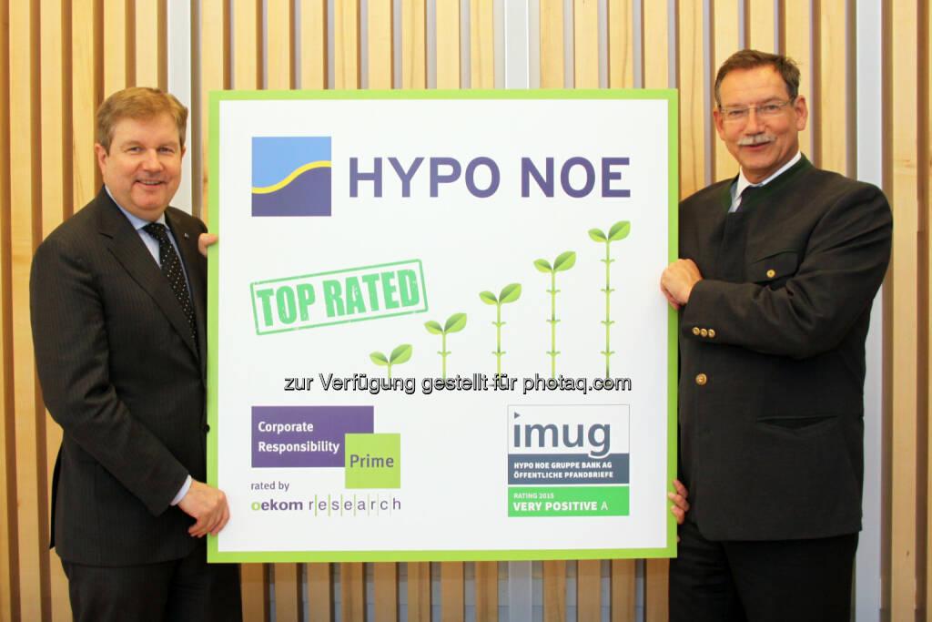 "Peter Harold (Generaldirektor), Nikolai de Arnoldi (Finanzvorstand) : ""Prime""-Rating für nachhaltige Hypo NOE : Fotocredit: Hypo NOE/Zalas, © Aussendung (04.05.2016)"