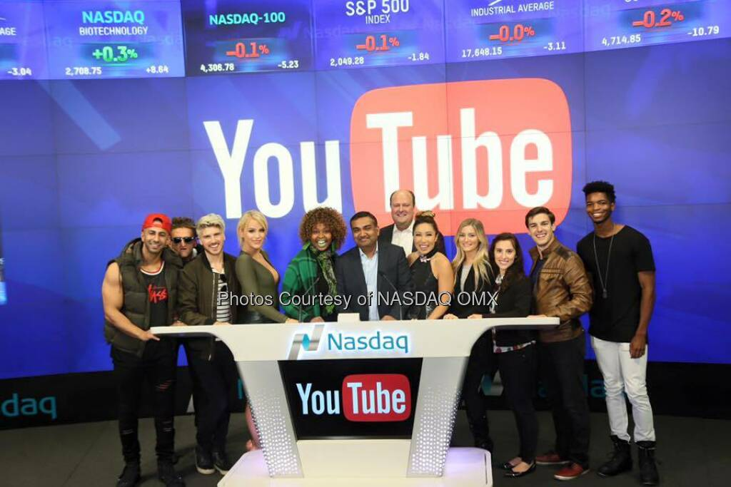 YouTube rang the Nasdaq Closing Bell along with the coolest YouTubers on the Source: http://facebook.com/NASDAQ (06.05.2016)