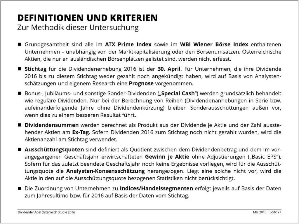 Dividendenstudie - Definitionen und Kriterien, © BSN/Dividendenadel.de (06.05.2016)