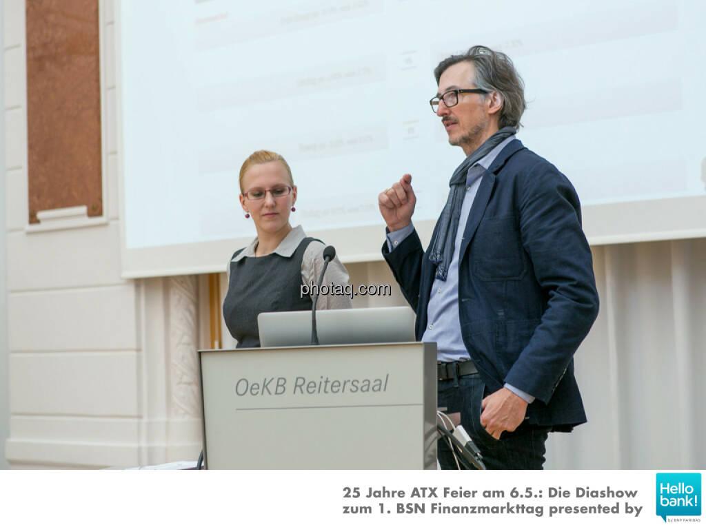 Angelika Scheid (S Immo), Josef Chladek (BSN) für http://www.aktientrophy.at, © Martina Draper/photaq (07.05.2016)