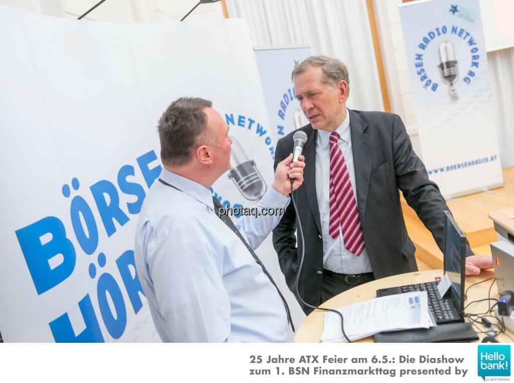 Peter Heinrich, Wilhelm Rasinger für http://www.boersenradio.at, © Martina Draper/photaq (07.05.2016)