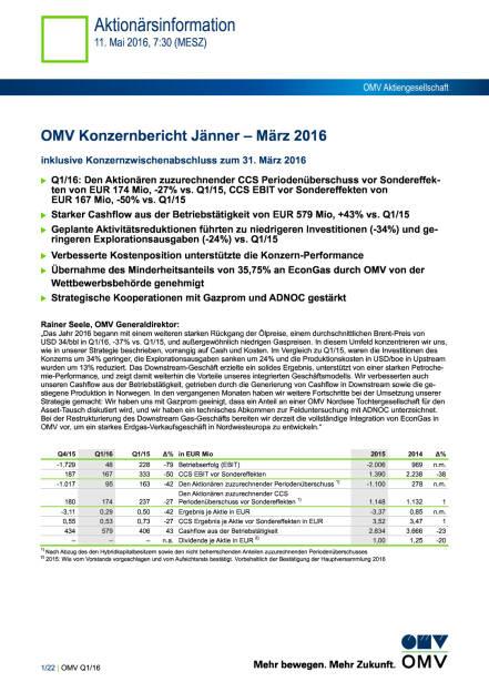 OMV Konzernbericht Jänner – März 2016, Seite 1/22, komplettes Dokument unter http://boerse-social.com/static/uploads/file_1031_omv_konzernbericht_janner_marz_2016.pdf (11.05.2016)