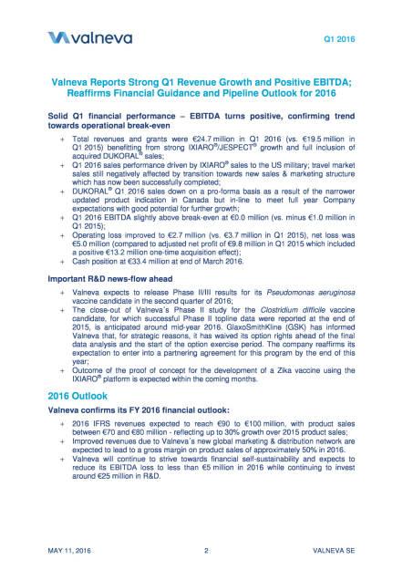 Valneva mit starkem Q1 2016 und positivem EBITDA, Seite 2/23, komplettes Dokument unter http://boerse-social.com/static/uploads/file_1032_valneva_mit_starkem_q1_und_positivem_ebitda.pdf (11.05.2016)