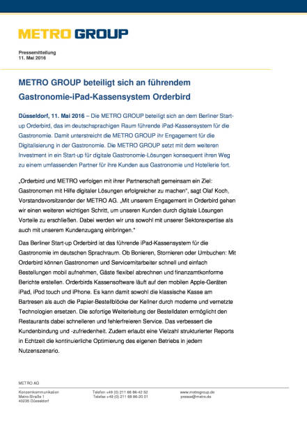 Metro Group beteiligt sich an dem Berliner Start-up Orderbird, Seite 1/2, komplettes Dokument unter http://boerse-social.com/static/uploads/file_1033_metro_group_beteiligt_sich_an_dem_berliner_start-up_orderbird.pdf (11.05.2016)
