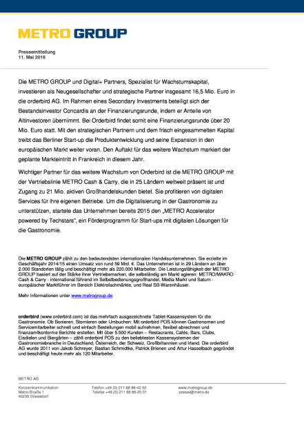 Metro Group beteiligt sich an dem Berliner Start-up Orderbird, Seite 2/2, komplettes Dokument unter http://boerse-social.com/static/uploads/file_1033_metro_group_beteiligt_sich_an_dem_berliner_start-up_orderbird.pdf (11.05.2016)